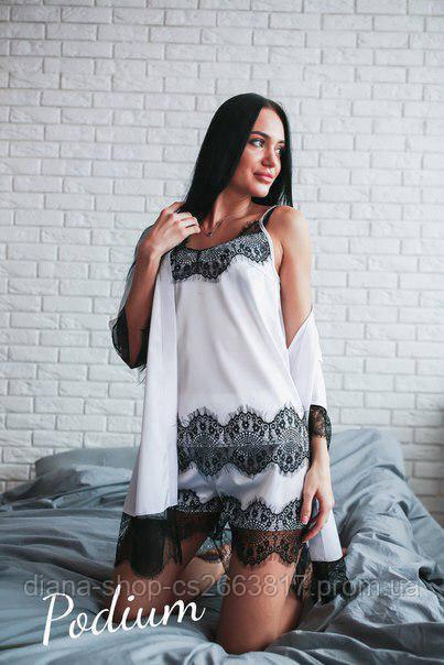2412ff923057 Женский домашний комплект майка + шорты из шелка белого цвета с кружевом