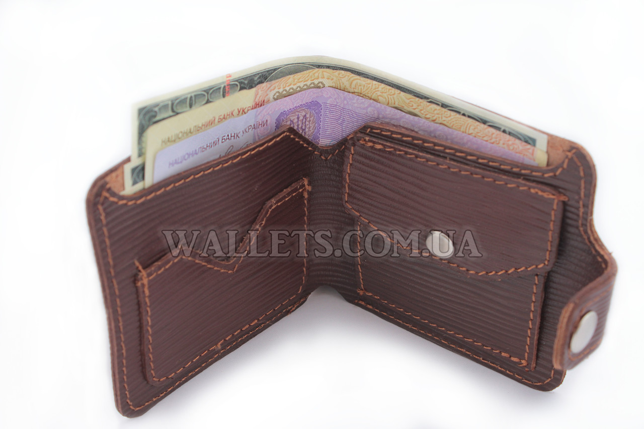 Чоловічий шкіряний гаманець VIVA, компактний, коричневий