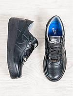 Кроссовки кожаные женские черные Nike Air Force (реплика)