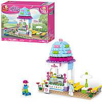 Конструктор для девочки Розовая мечта 205 деталей - дом - кафе, столик,фигурки,  Sluban M38-B0525