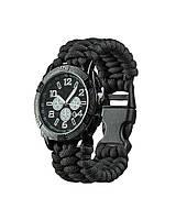 Часы водонепроницаемые армейские MIL-TEC ARMY UHR PARACORD Black (15774002) L (15774002 - 904), Герм