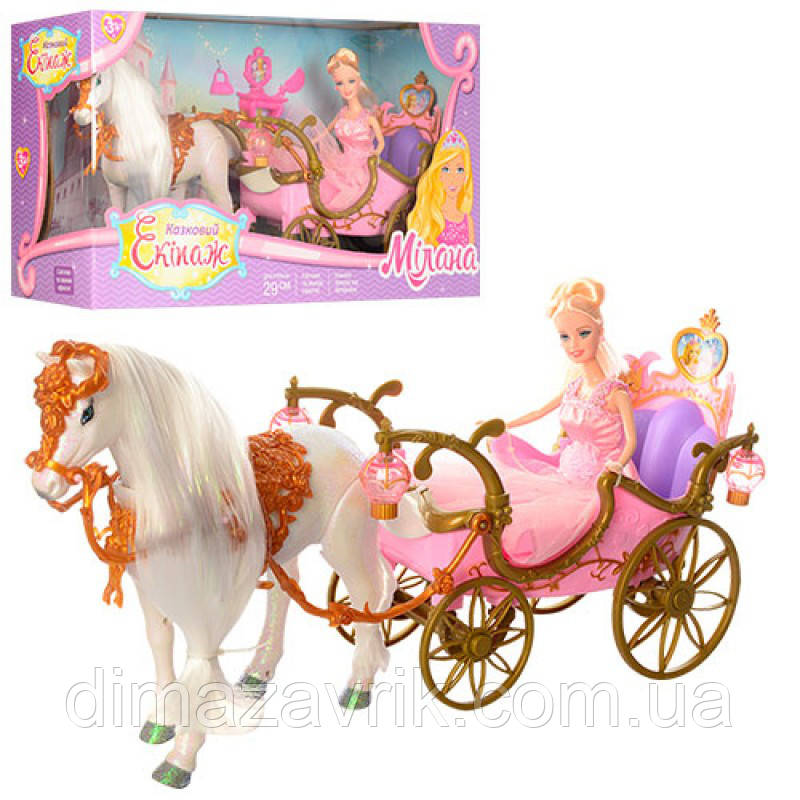 Карета 778418/209 A кукла, лошадь ходит, аксессуары, звук, свет, на батарейке, в коробке 56-19-30 см