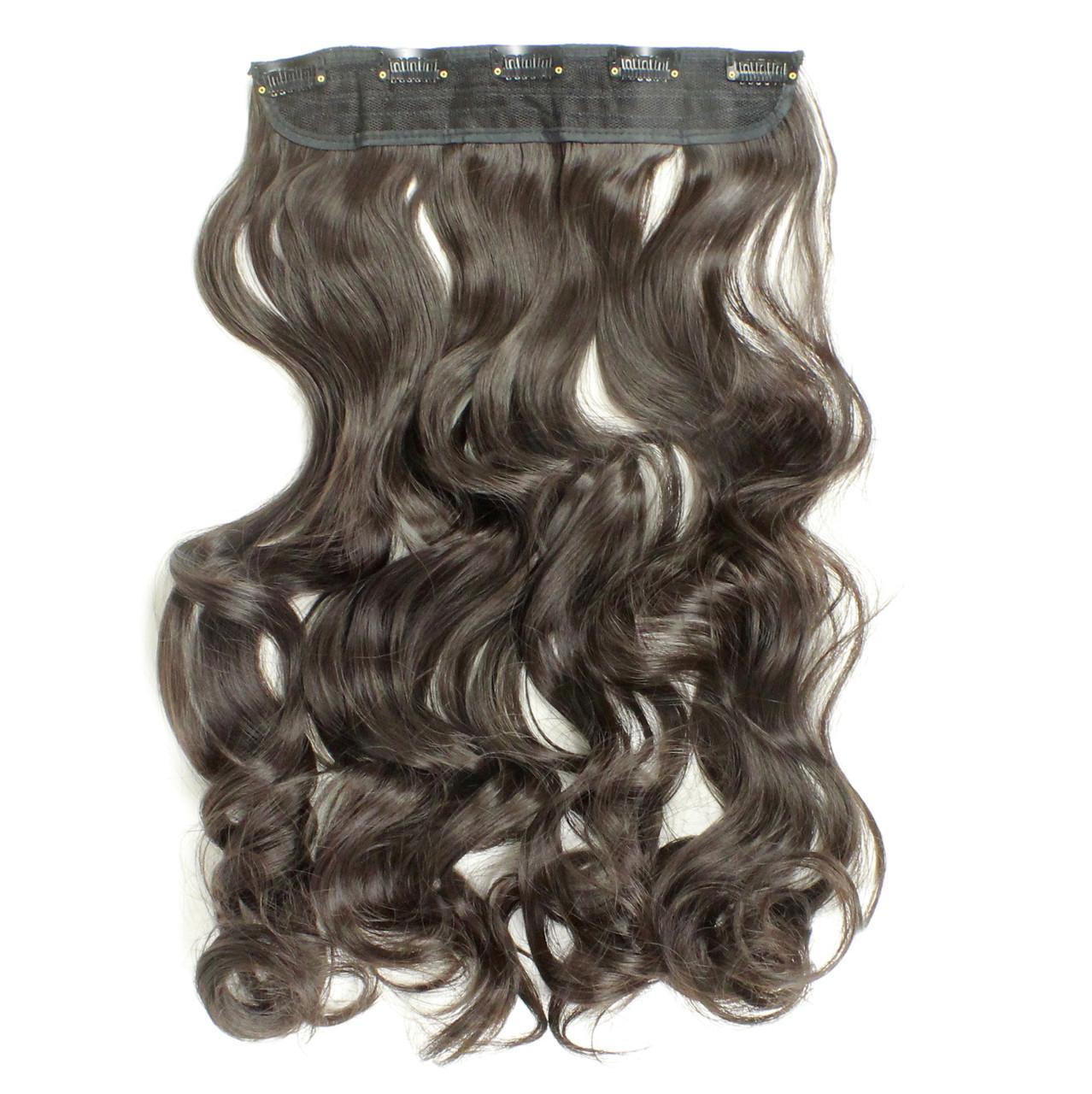 Прядь накладная на клипсах из искусственных вьющихся термо-волос 65 см №4A горький шоколад
