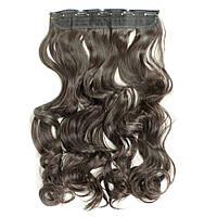 Прядь накладная на клипсах из искусственных вьющихся термо-волос 65 см №4A горький шоколад, фото 1
