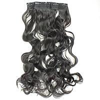 Прядь накладная на клипсах из искусственных вьющихся термо-волос 80 см №2A брюнет, фото 1