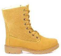 Коричневые женские утепленные ботинки в стиле Timberland, фото 1