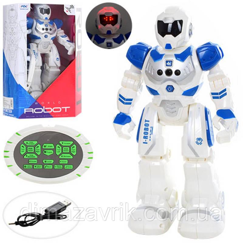 Робот HX889 р/у, аккум, 25 см, программ, ходит, танцует,  муз, звук (англ), свет, USB зарядное, коробка 19-30-