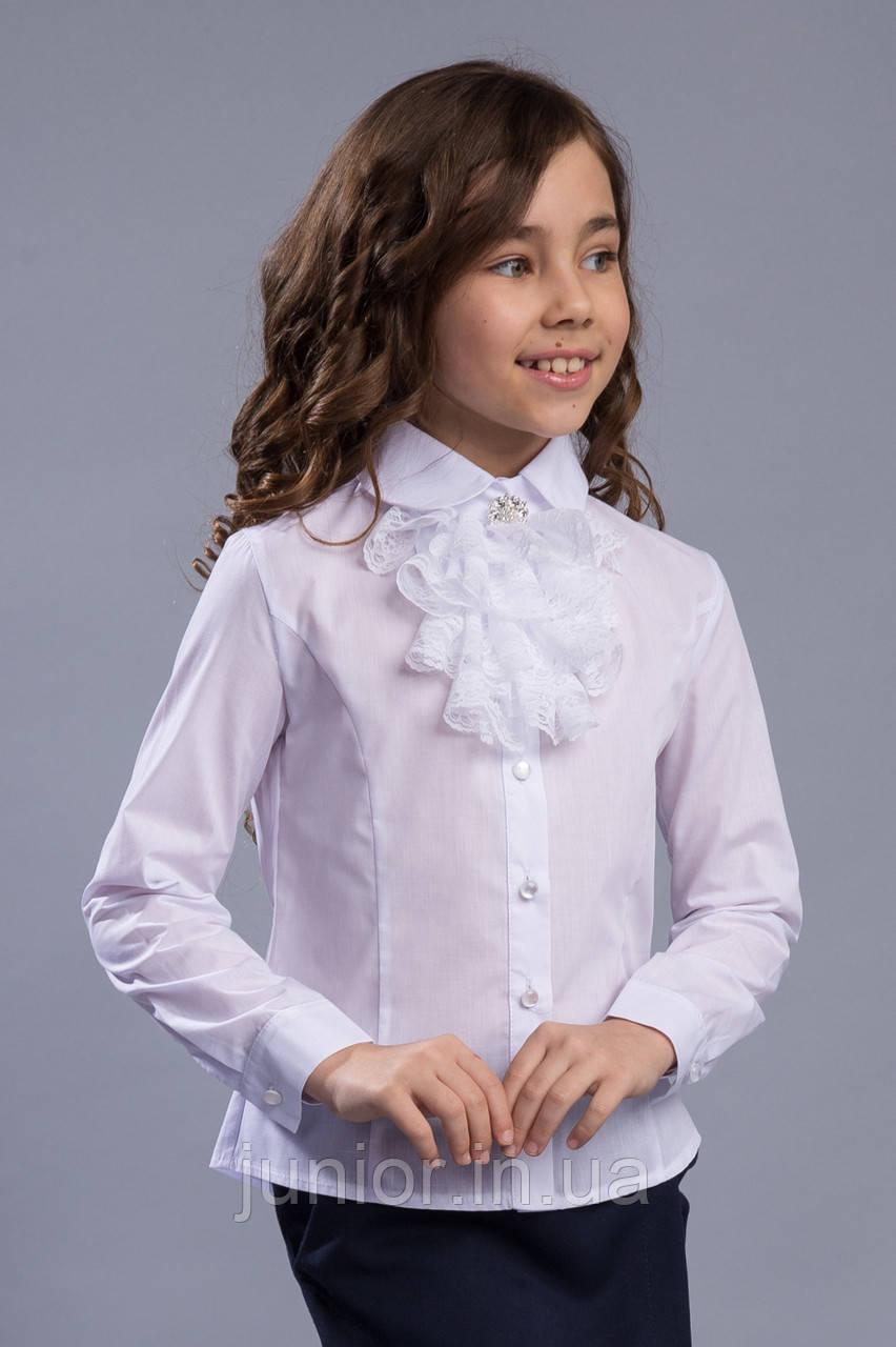 f73797eb122 Школьная белая блуза с кружевным жабо