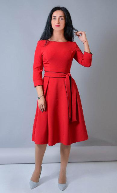 Женское теплое платье из костюмного крепа (52 размер)