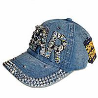 """Джинсова кепка для дівчинки зі стразами """"STAR""""."""