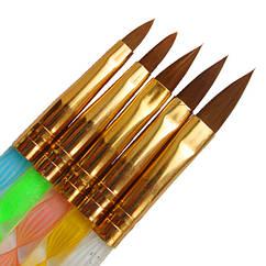 Набор 5 шт Конусных Кистей для Акрила, с Прозрачной Ручкой, Кисти для Наращивания Ногтей