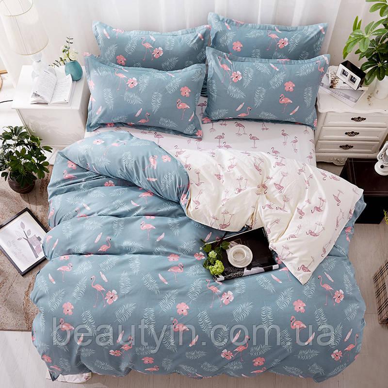 Комплект постельного белья Фламинго и папоротник (двуспальный-евро) Berni