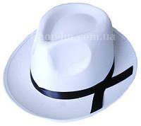 Шляпа Гангстера белая с черной полосой