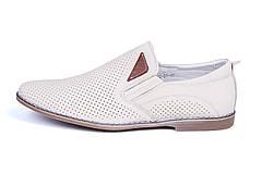 Мужские кожаные летние туфли, перфорация, KF beige на резинках