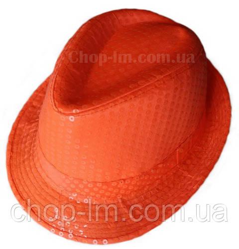 """Шляпа """"Диско"""" (оранжевая с блестками)"""