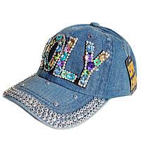 """Джинсова кепка для дівчинки зі стразами """"HOLY""""."""