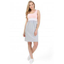 """Платье """"Триколор"""" для беременных и кормящих I love mum пудровый/серый меланж"""