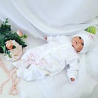Человечек для новорожденных + шапочка — Розовое кружево, фото 1