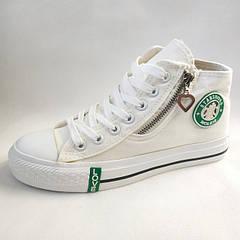 Модные подростковые кеды для девочек белые 3815 36р-39р.