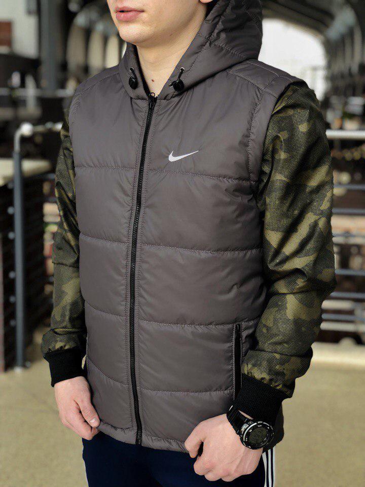 Жилетка  Nike мужская с капюшоном серая топ реплика