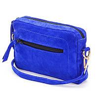 211560a0d46b Клатч женская сумочка из натуральной замши синего цвета с одним основным  отделением