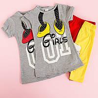 Футболка и бриджи для девочек: Костюм летний Стразы размер 3-4-5-6 лет