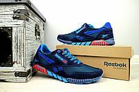 Летние кроссовки Reebok сетка, натур замша,синий(реплика)