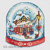 Набор для вышивания крестом Снежный шар красный А010, фото 2