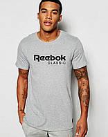 Серая мужская футболка Reebok с оригинальным принтом