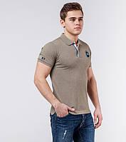 Braggart | Рубашка поло мужская 71031 серо-бежевый меланж