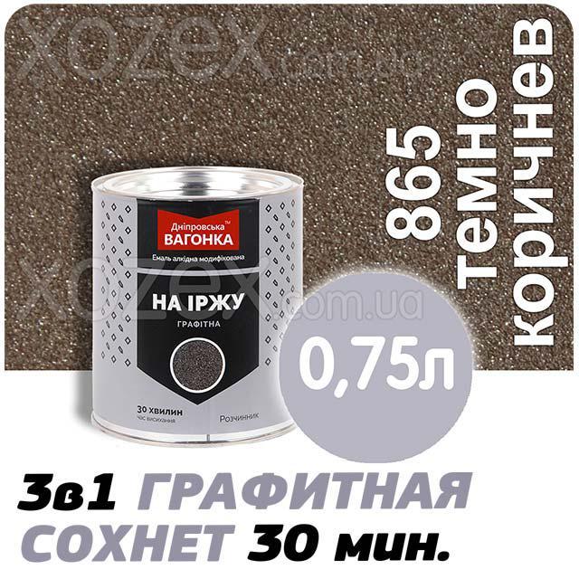 Днепровская Вагонка Графитная № 865 Тёмно-коричневый Краска -Эмаль 0,75лт