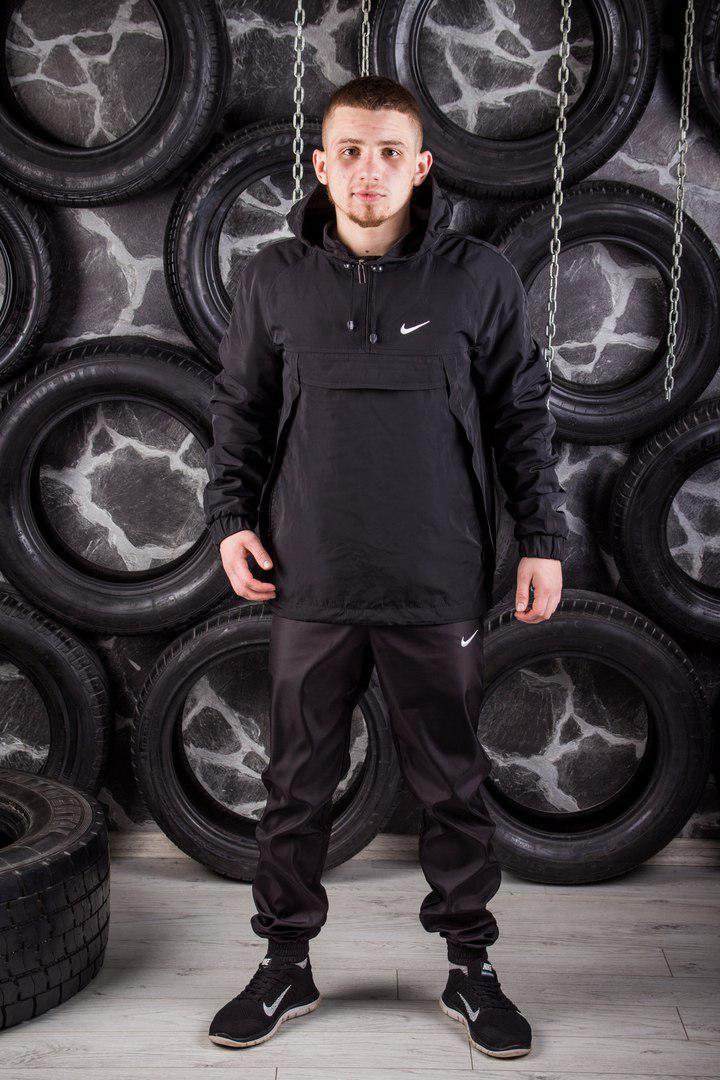 Комплект Nike Анорак +штаны, барсетка в подарок черный топ реплика