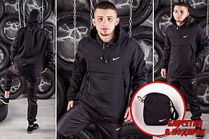 Комплект Nike Анорак +штаны, барсетка в подарок черный топ реплика, фото 2