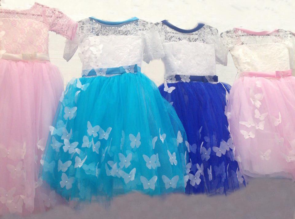 Красиве святкове яскраве гіпюрову з фатином плаття на дівчинку 6-7 років.