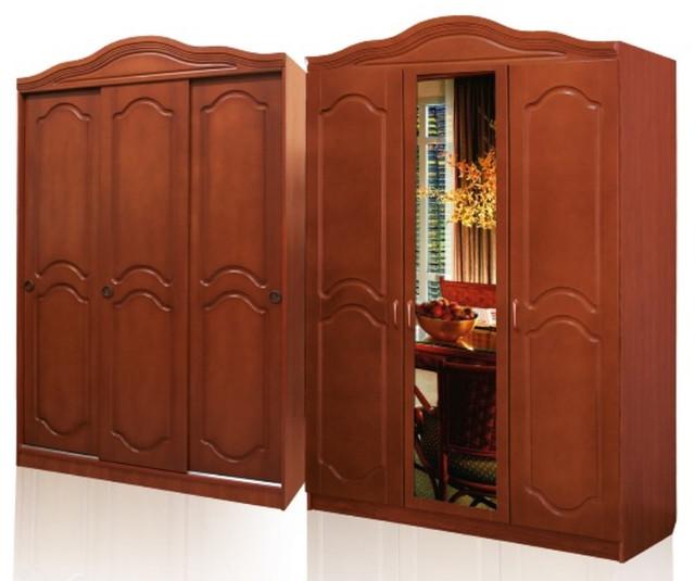 Шкаф спальни «Анна» выполнен из ламинированного ДСП-ГОСТ 4598-86, фасад и архитектурная корона изготовлены из МДФ, который покрыт высококачественными лакокрасочными материалами ТМ «Тиккурила», Финляндия. Шкаф поделён на две половины, в одной расположены 5 полок, в другой две полки (сверху и снизу) и штанга для тремпилей, задняя часть закрыта ламинированным ДВП. Для соединения элементов шкафа используется высококачественная мебельная фурнитура мировых производителей.