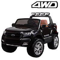 Двухместный детский полноприводный электромобиль джип Ford Ranger M 3573 EBLR-2 черный, мягкие колеса кожаное