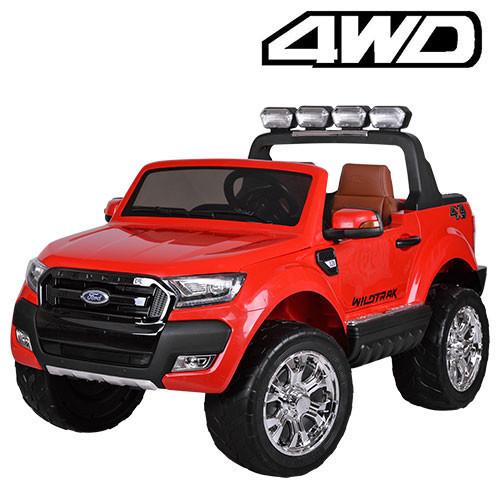 Двухместный детский полноприводный электромобиль джип Ford Ranger M 3573 EBLR-3 красный, мягкие колеса кожаное