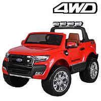 Двухместный детский полноприводный электромобиль джип Ford Ranger M 3573 EBLR-3 красный, мягкие колеса кожаное, фото 1