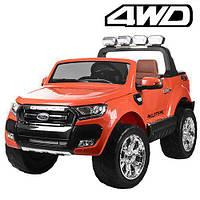 Двухместный детский полноприводный электромобиль джип Ford Ranger M 3573 EBLR-7 оранжев, мягкие колеса кожаное