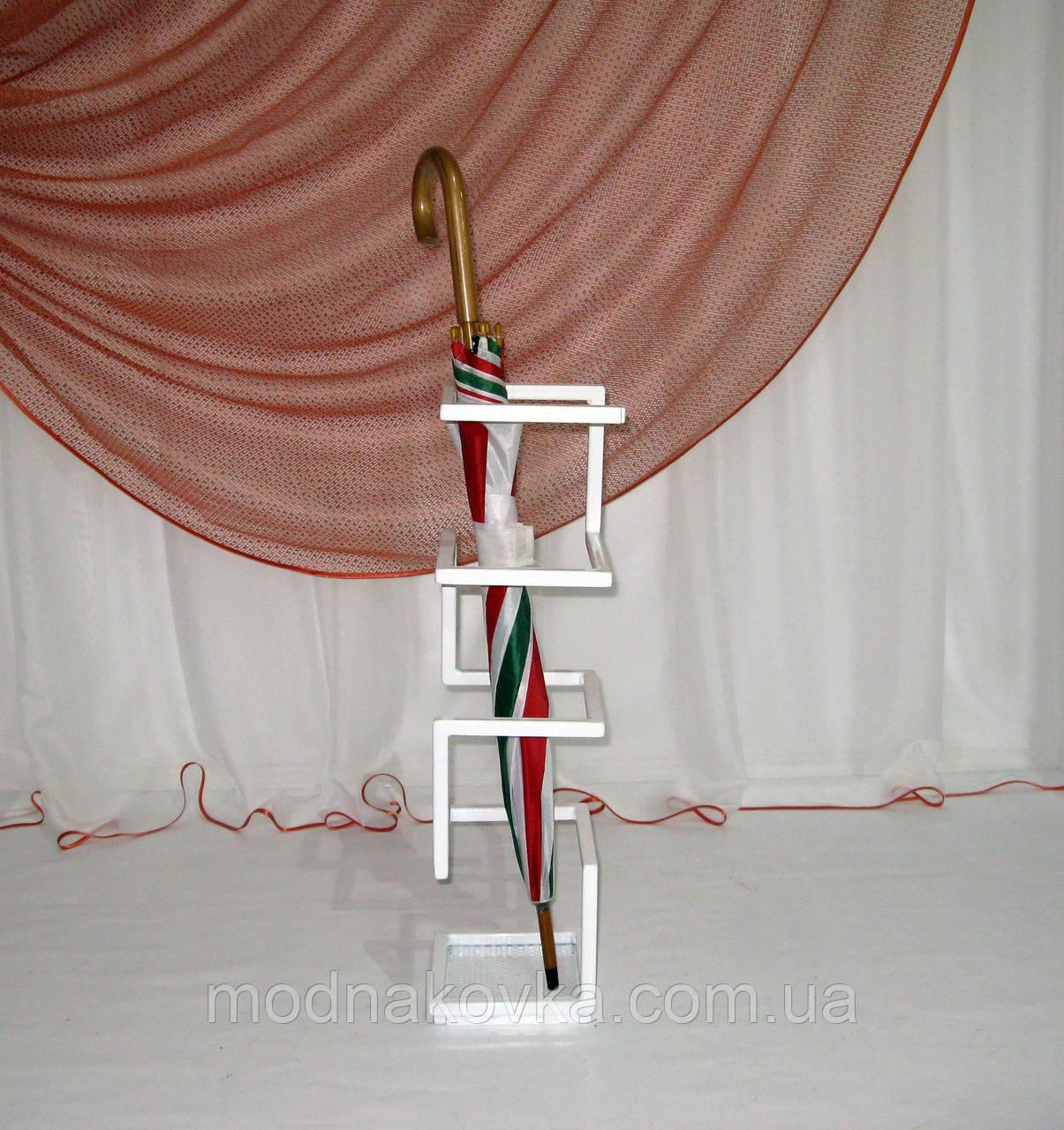 Зонтовница Лофт. Кованая подставка под зонты, белая