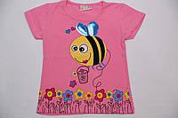 """Футболка для девочки """"пчелка """" персиковая, размер 1-2"""