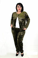 Бархатный велюровый мраморный женский костюм - двойка. Разные цвета, батал размеры до 56 размера.