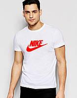 Белая мужская футболка Nike с оригинальным принтом
