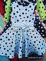 """Детское нарядное платье """"Стиляги -1"""". Горох 6 лет. Голубое"""