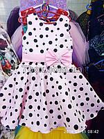 """Детское нарядное платье """"Стиляги -1"""". Горох 6 лет. Розовое"""