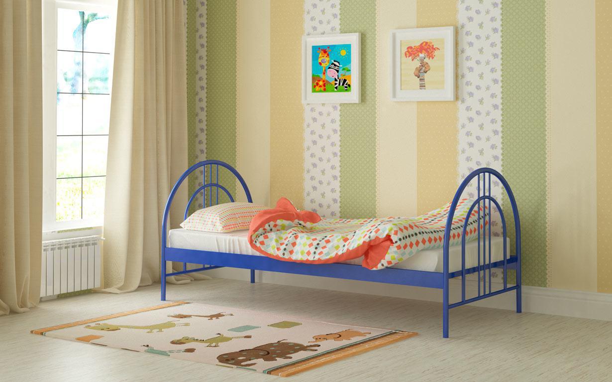 Металлическая кровать Алиса Люкс 80х190 см. Мадера