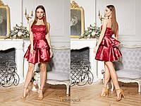 Платье с атласной двойной юбкой и кружевным верхом без бретель в расцветках (от 42 до 52 размера) 16982PL, фото 1