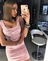 Летнее платье мелкой вязки с сердцем на груди (в расцветках) 16985PL, фото 1