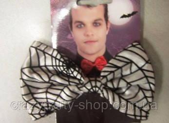 Карнавальный галстук-бабочка Дракулы с паутиной