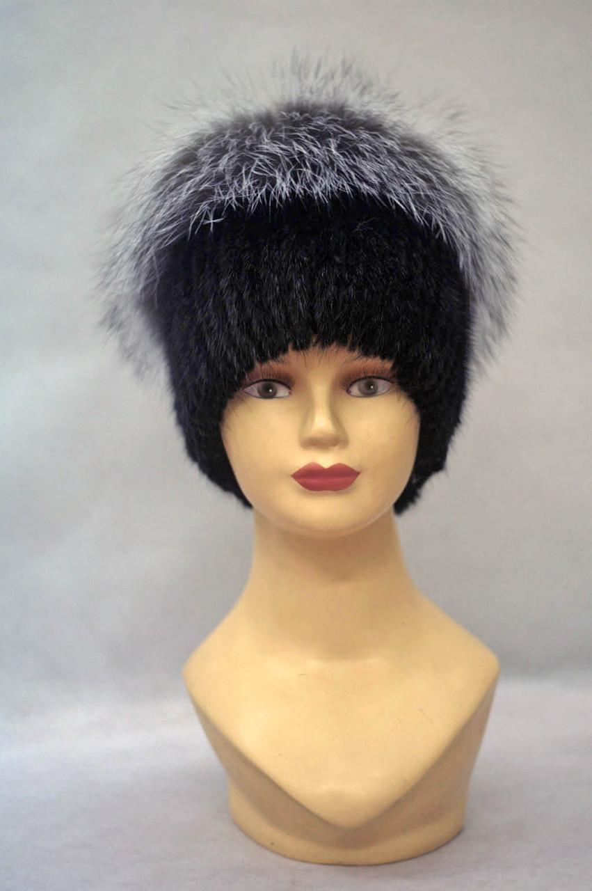 Женская меховая шапка ондатра и чернобурка  Одуванчик